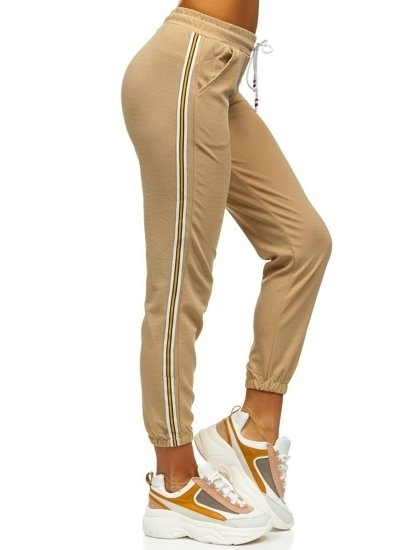 Beżowe spodnie dresowe damskie