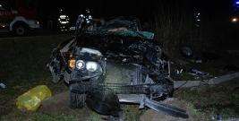 PRZYSIETNICA: Śmierć kierowcy po wjechaniu w słup energetyczny (ZDJĘCIA)